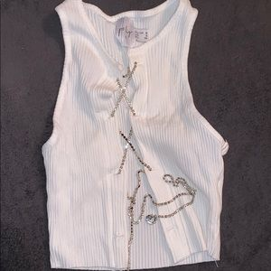 White crop tank with crystal lacing